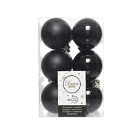 Kerstballen plastic/12 dia 6cm, zwart