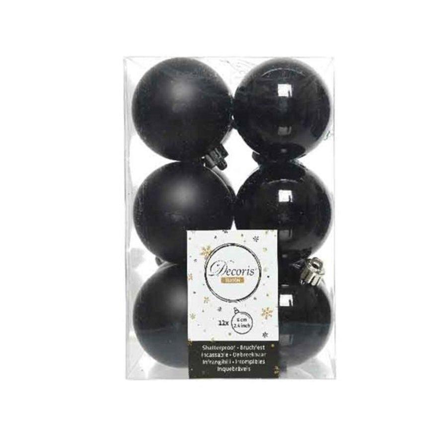 Kerstballen plastic/12 dia 6cm, zwart-1