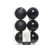 Kerstballen plastic/6 dia 8cm, zwart