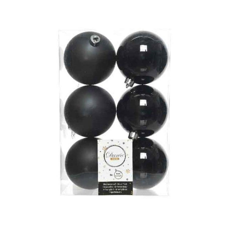Kerstballen plastic/6 dia 8cm, zwart-1