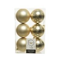 Kerstballen plastic/6 dia 8cm, champagne