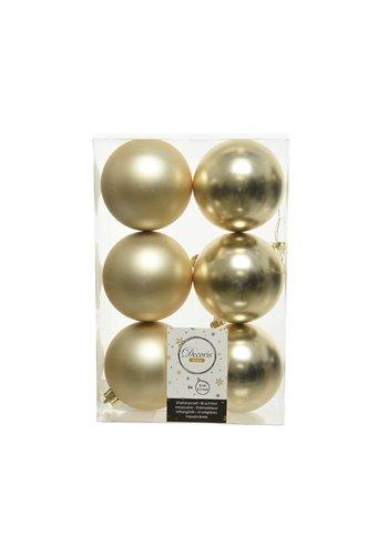 Decoris Kerstballen plastic/6 dia 8cm, champagne