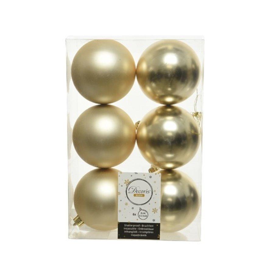Kerstballen plastic/6 dia 8cm, champagne-1