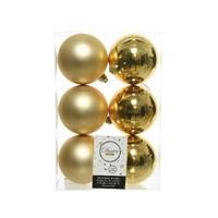 Kerstballen plastic/6 dia 8cm, licht goud