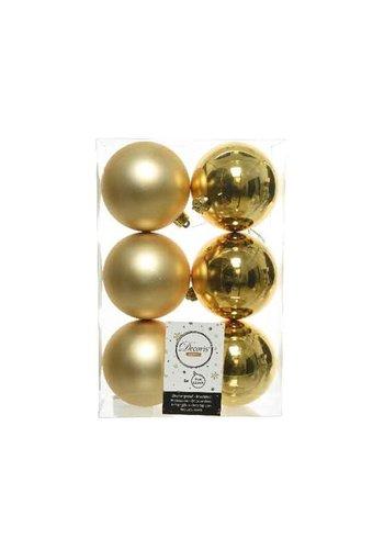 Decoris Kerstballen plastic/6 dia 8cm, licht goud