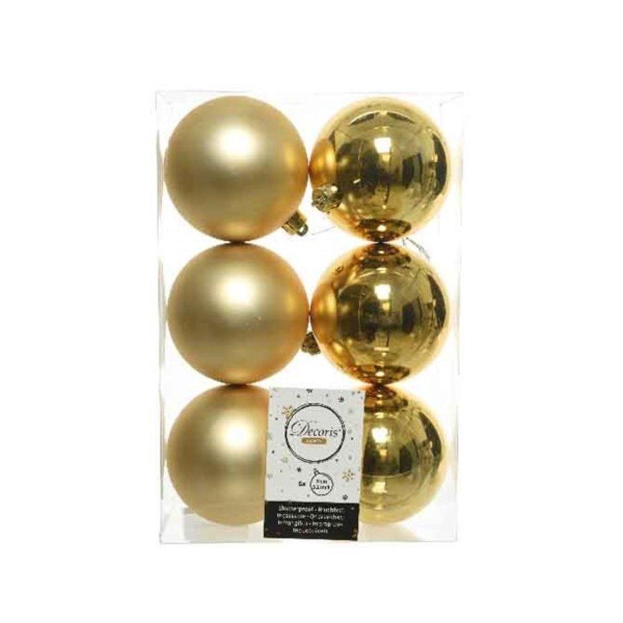 Kerstballen plastic/6 dia 8cm, licht goud-1