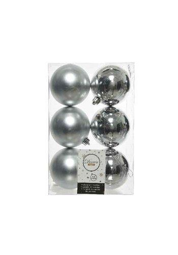 Decoris Kerstballen plastic/6 dia 8cm, zilver