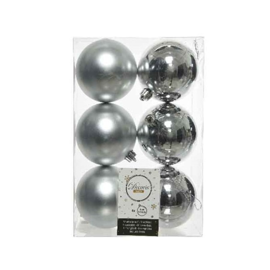 Kerstballen plastic/6 dia 8cm, zilver-1