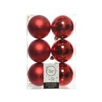 Kerstballen plastic/6 dia 8cm, kerstrood