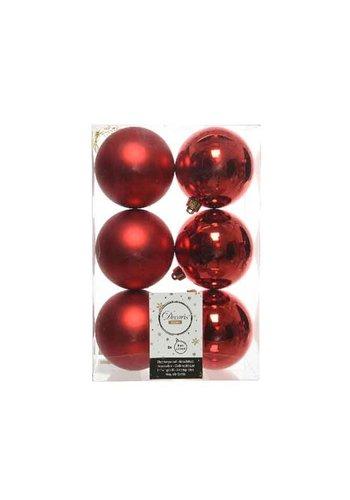 Decoris Kerstballen plastic/6 dia 8cm, kerstrood
