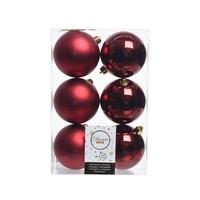 Kerstballen plastic/6 dia 8cm oxblood
