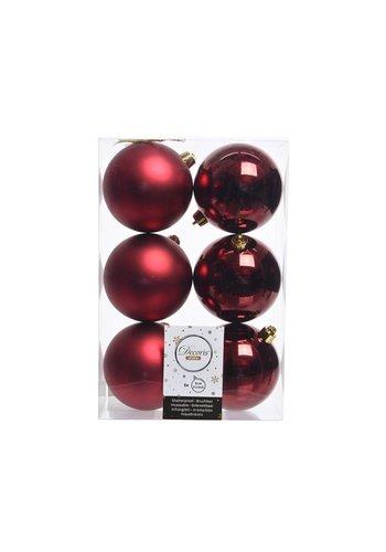 Decoris Kerstballen plastic/6 dia 8cm oxblood