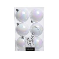 Kerstballen plastic/6 dia 8cm wit/iris