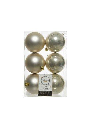 Decoris Kerstballen plastic/6 dia 8cm parel