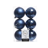 Kerstballen plastic/6 dia 8cm nachtblauw