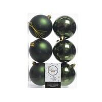Kerstballen plastic/6 dia 8cm, pine green