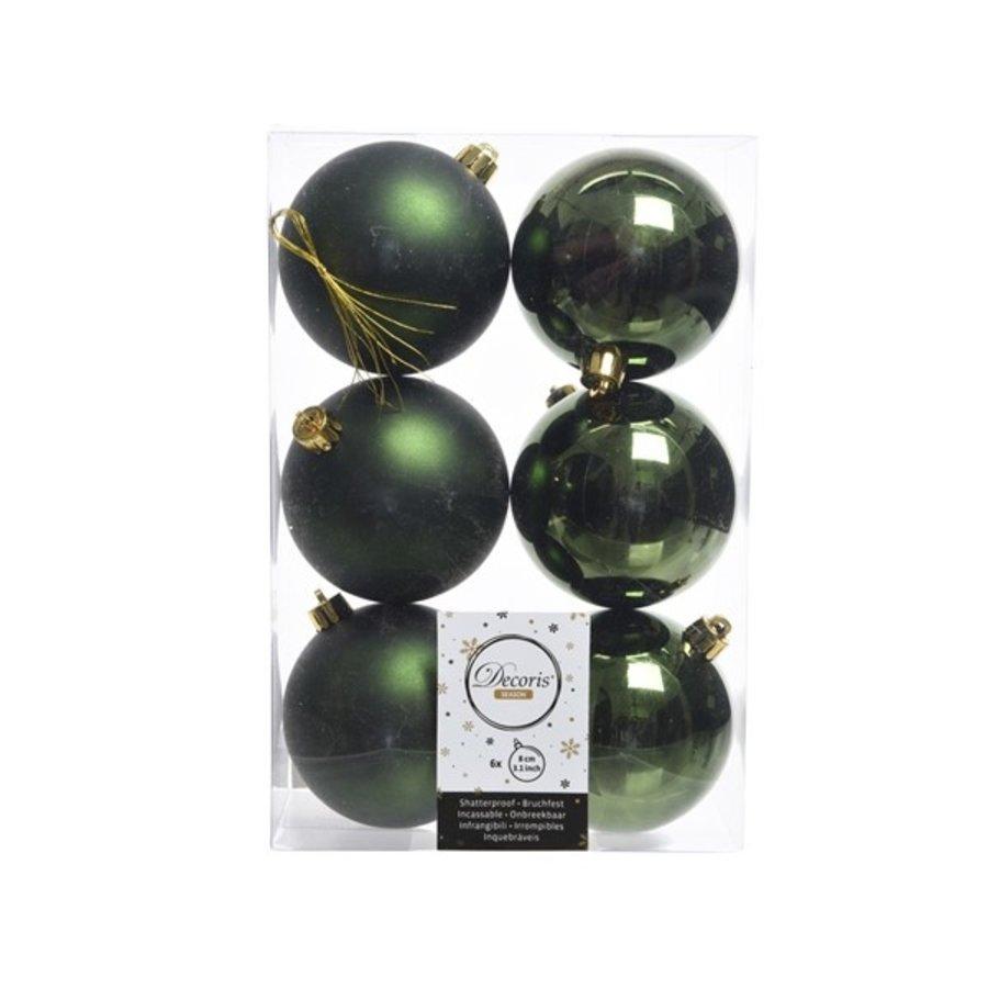 Kerstballen plastic/6 dia 8cm, pine green-1