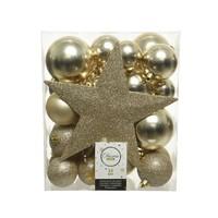 Set/33 onbreekbare kerstballen + piek champagne