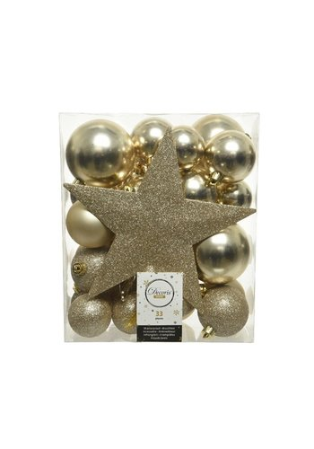 Decoris Set/33 onbreekbare kerstballen + piek champagne