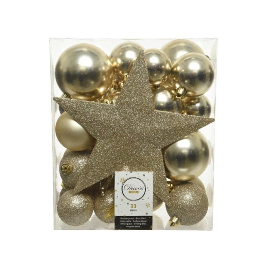 Set/33 onbreekbare kerstballen + piek champagne-1