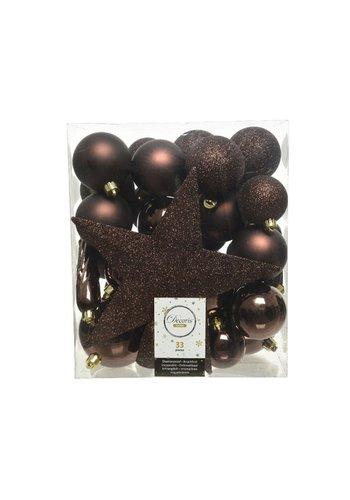 Decoris Set/33 onbreekbare kerstballen + piek donkerbruin