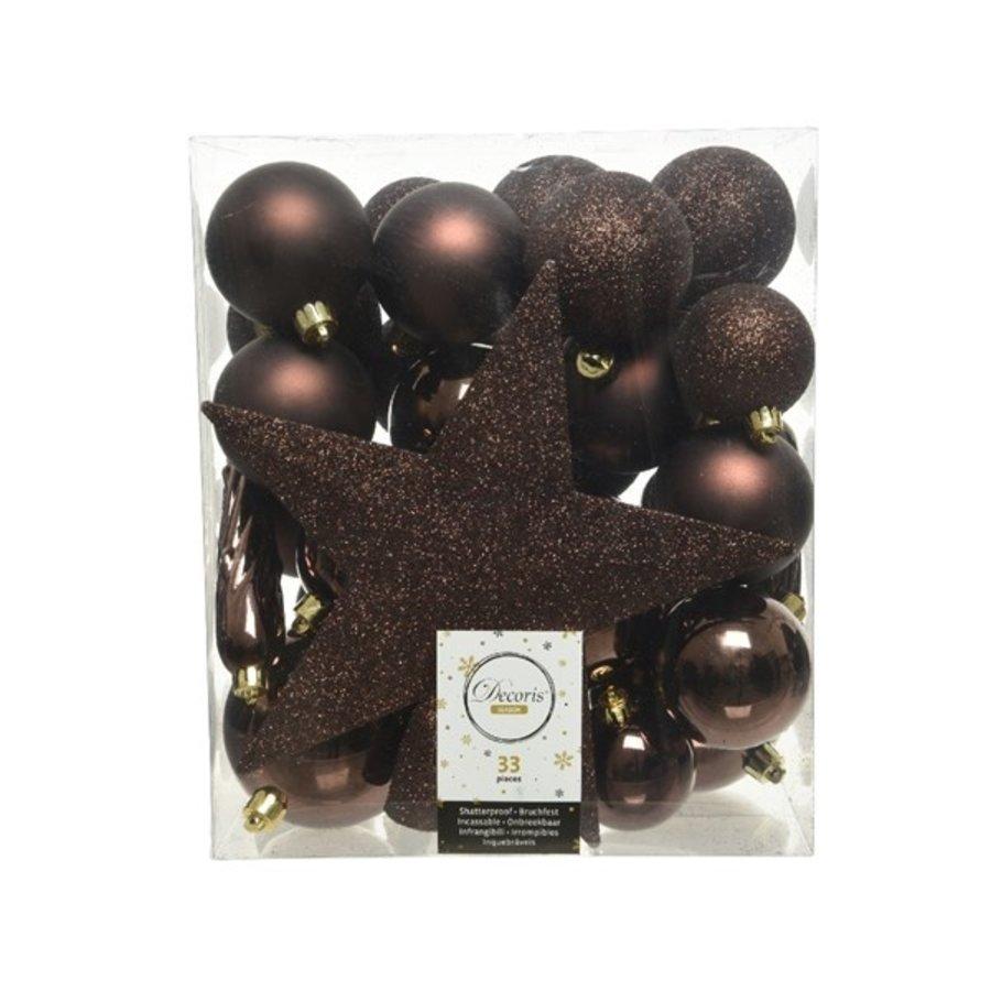 Set/33 onbreekbare kerstballen + piek donkerbruin-1