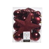 Set/33 onbreekbare kerstballen + piek oxblood