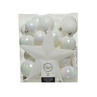 Set/33 onbreekbare kerstballen + piek wit/iris
