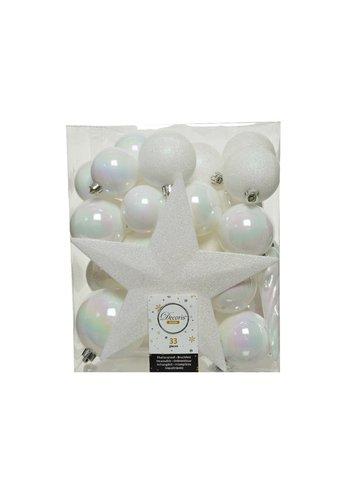 Decoris Set/33 onbreekbare kerstballen + piek wit/iris