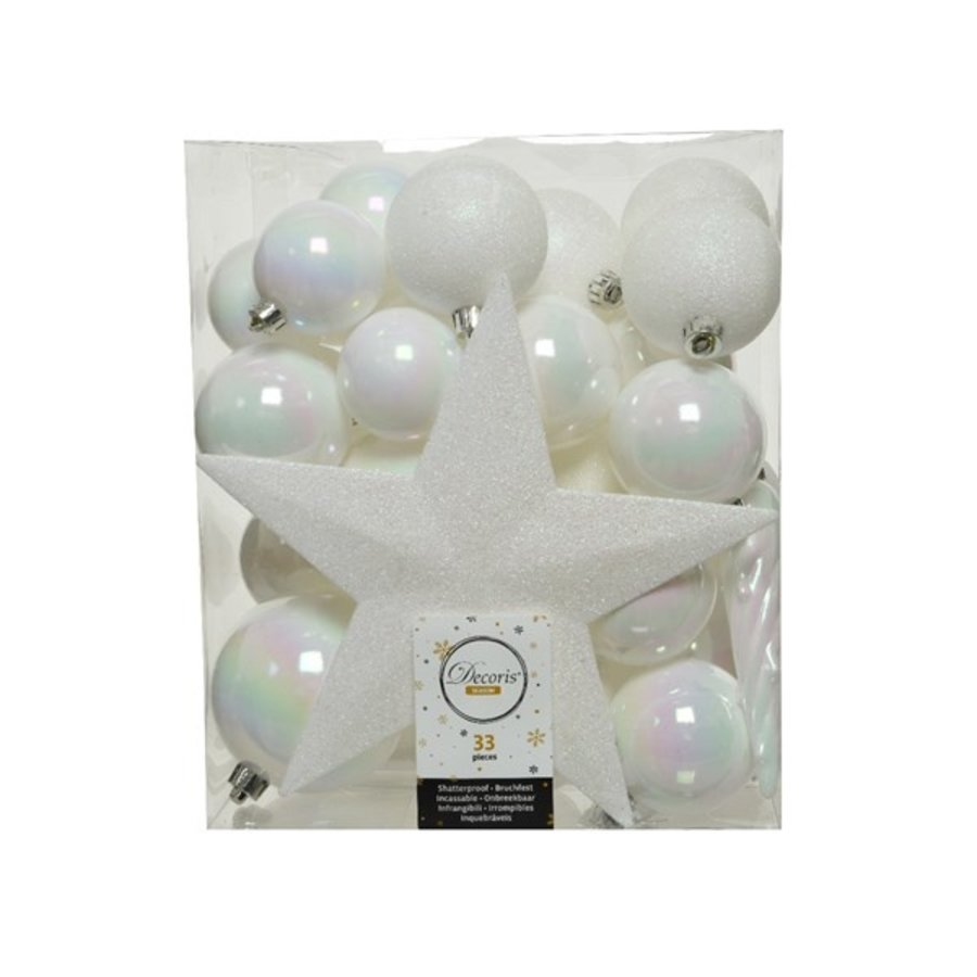 Set/33 onbreekbare kerstballen + piek wit/iris-1