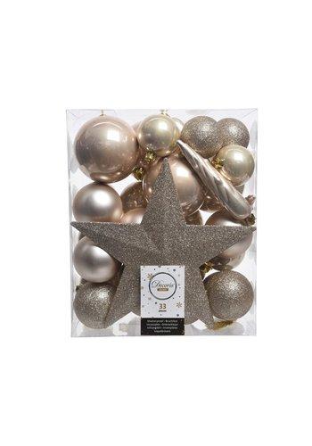 Decoris Set/33 onbreekbare kerstballen + piek parel