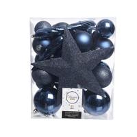 Set/33 onbreekbare kerstballen + piek nachtblauw