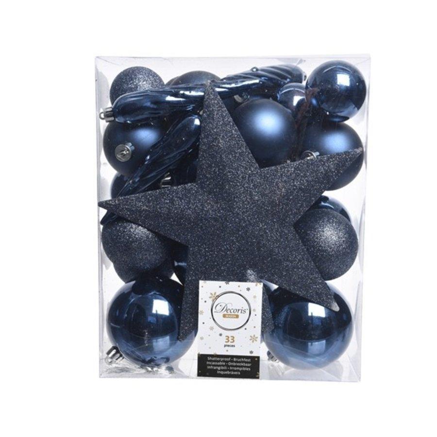 Set/33 onbreekbare kerstballen + piek nachtblauw-1