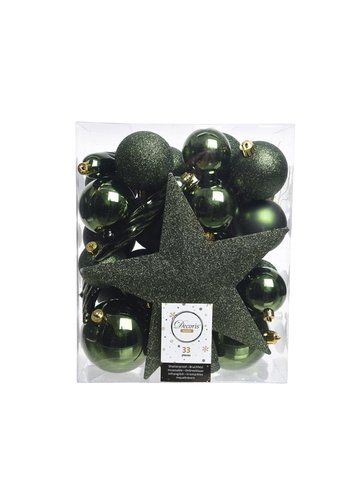 Decoris Set/33 onbreekbare kerstballen + piek dennengroen