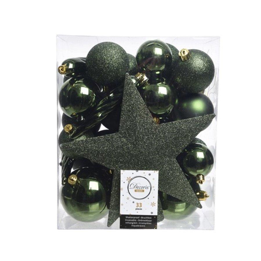 Set/33 onbreekbare kerstballen + piek dennengroen-1