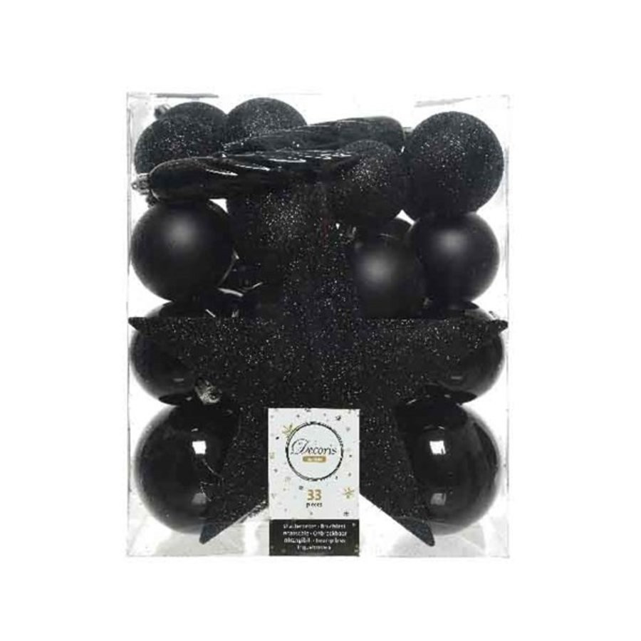 Set/33 onbreekbare kerstballen + piek zwart-1