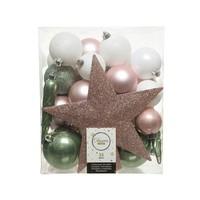 Set/33 onbreekbare kerstballen + piek Nature's Gift