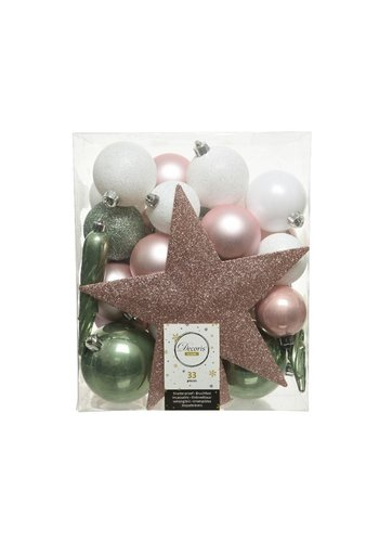 Decoris Set/33 onbreekbare kerstballen + piek Nature's Gift