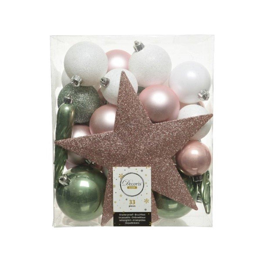 Set/33 onbreekbare kerstballen + piek Nature's Gift-1