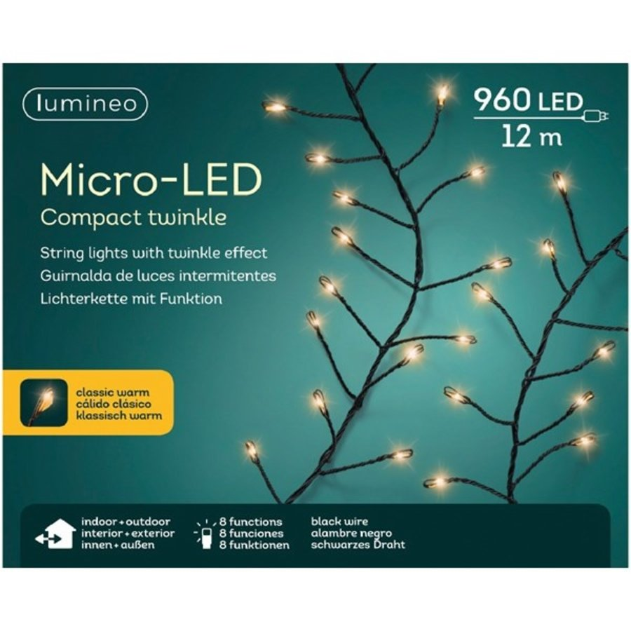micro LED compact twinkle - black wire - Klassiek Warm-1
