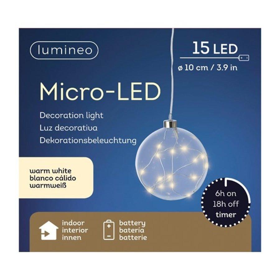 Micro LED bal glas 10cm 15L warmwit-2