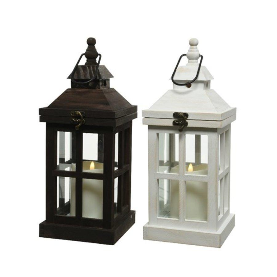 LED lantaarn hout 14x14x36cm 1L-1