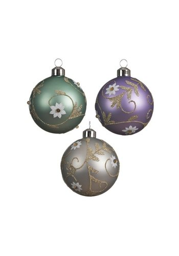 Decoris Glazen kerstbal bloem 8cm