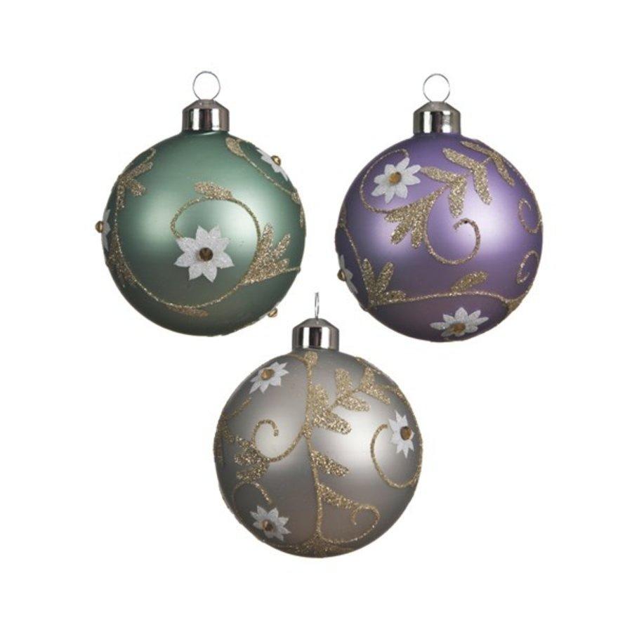 Glazen kerstbal bloem 8cm-1