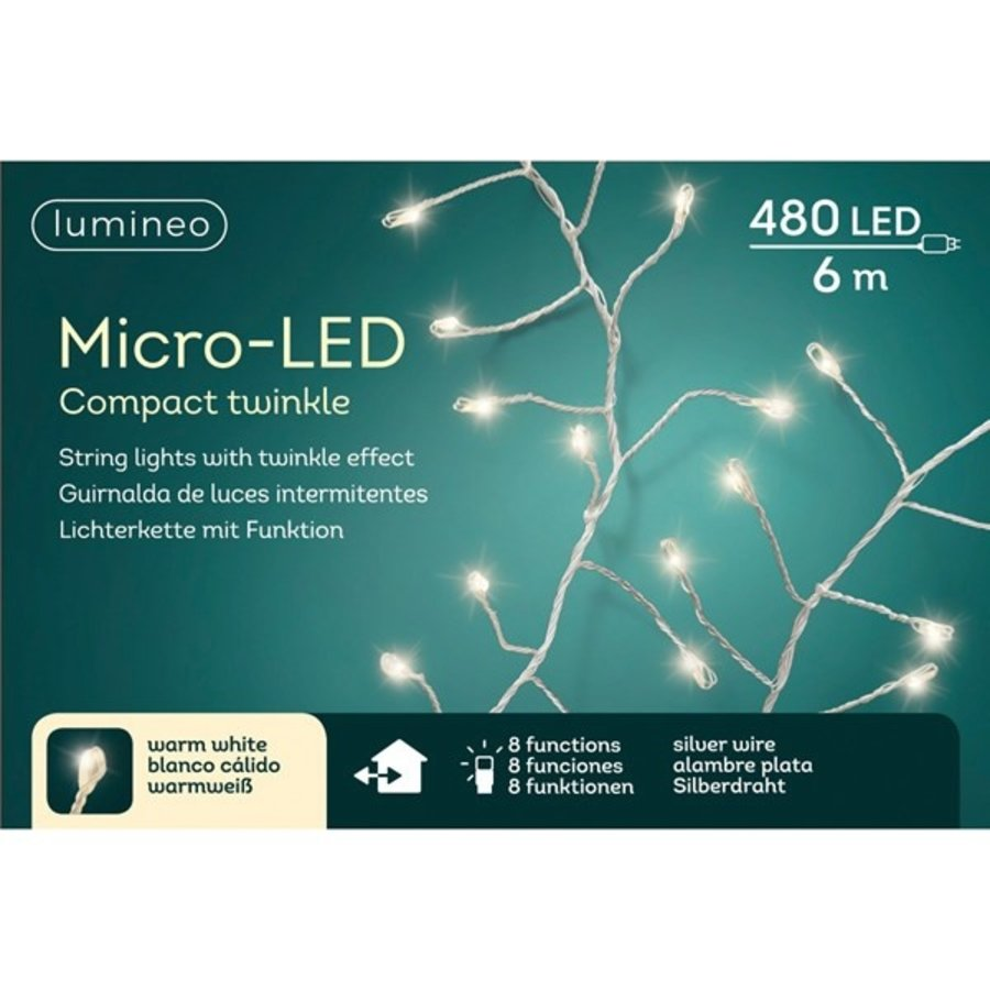 micro LED compact twinkle - silver wire - Warm Wit-1
