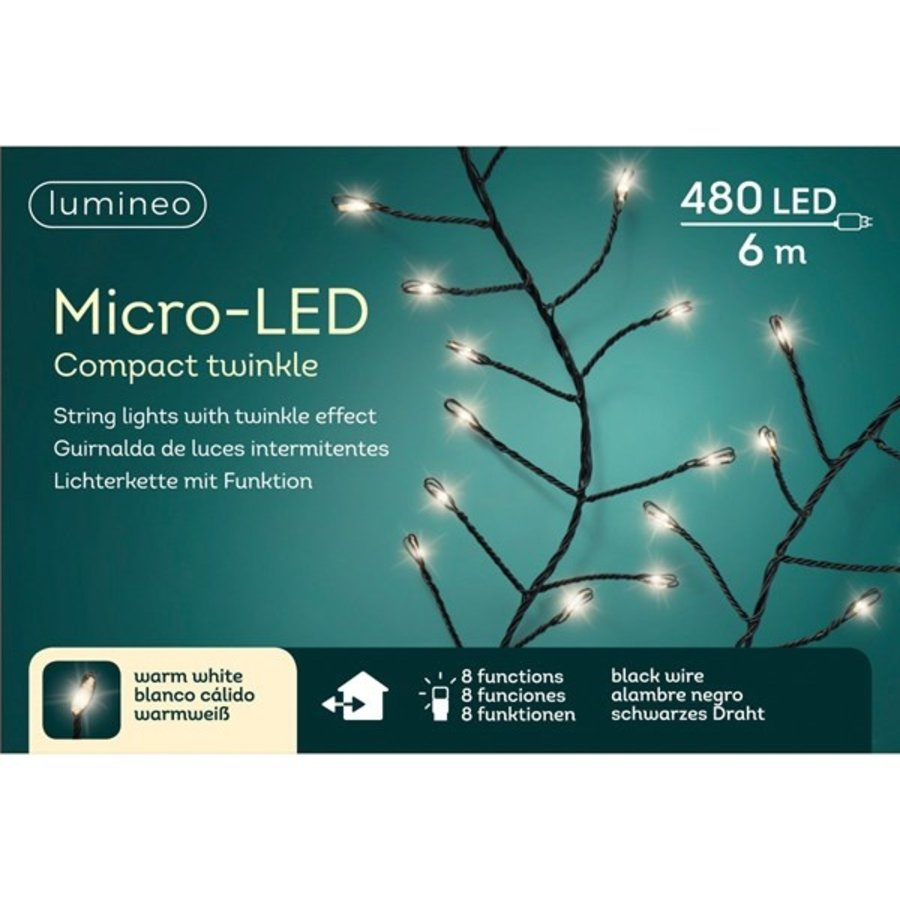 micro LED compact twinkle - black wire - Warm Wit-1