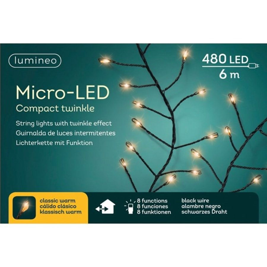 micro LED compact twinkle - black wire - Klassiek Warm-3