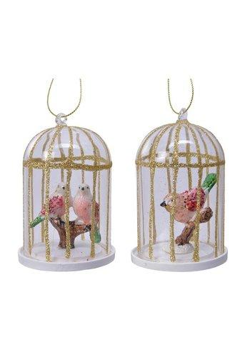 Decoris Glazen vogelkooi 10cm