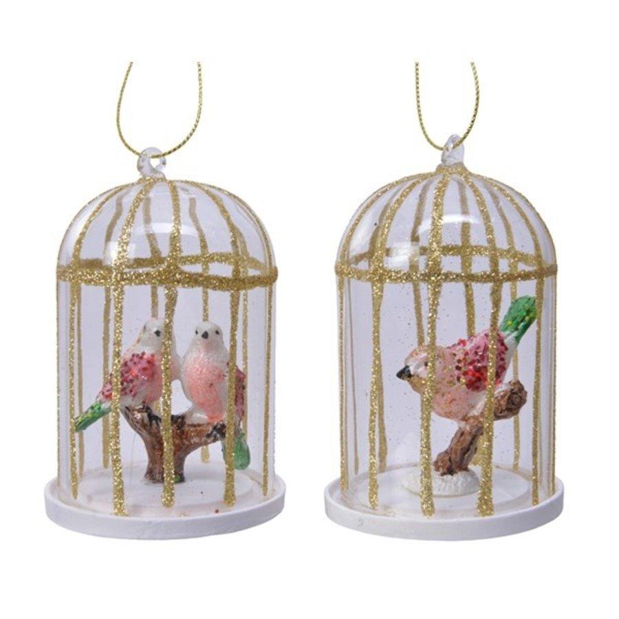 Glazen vogelkooi 10cm-1