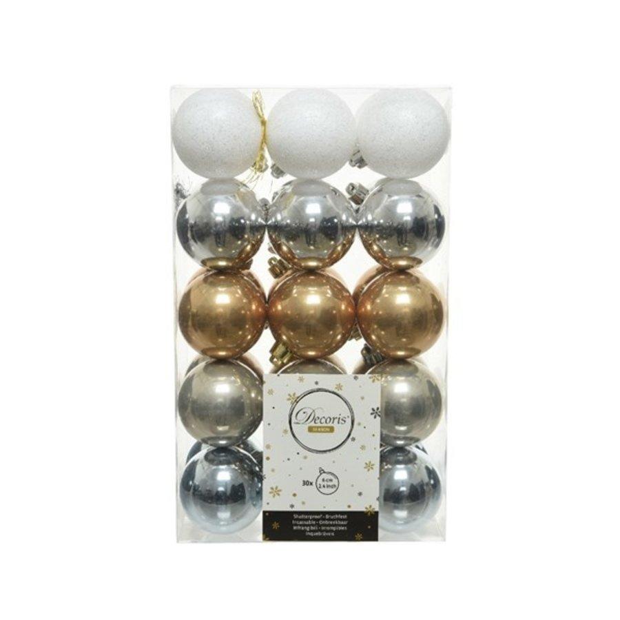 Kerstballen plastic mix 6cm /30-1